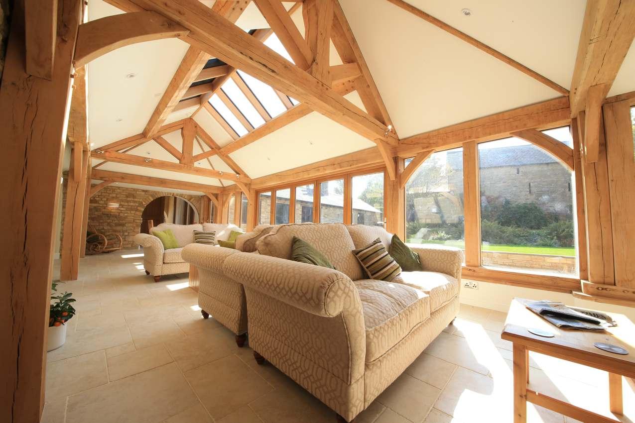 Stone barn renovation oak frame natural structures for Barn renovation
