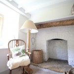 fireplace in oak frame house